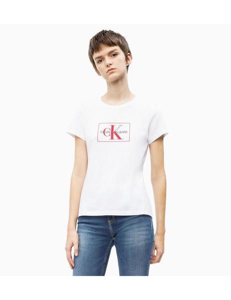 venta caliente real la mejor calidad para Para estrenar Camiseta Calvin Klein slim con logo Blanca Para Mujer