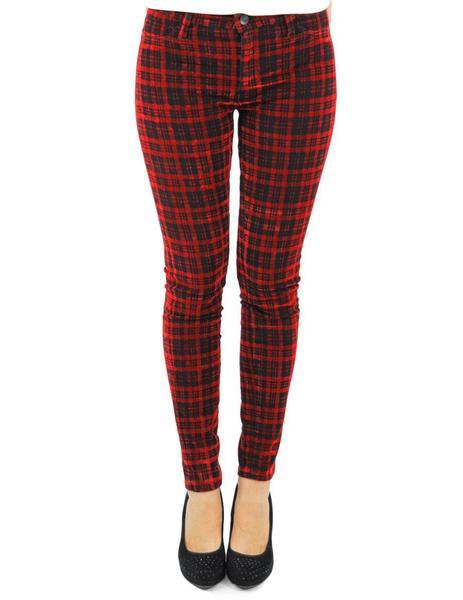 Pantalon Brax Cuadros Rojo Para Mujer