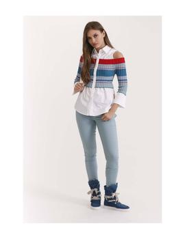 Jersey Camisa Highly Preppy Tricot Mixed Para Mujer