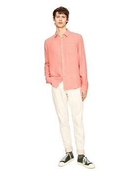 Camisa Pepe Jeans Básica Addison Coral Para Hombre