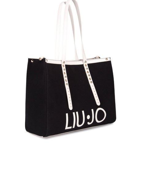 vertical Gracias Increíble  Bolso Liu Jo Tote Con Logotipo Negro y Blanco Para Mujer