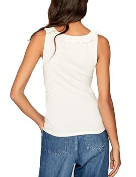 Top Pepe Jeans Con Volante Diane Beige Para Mujer