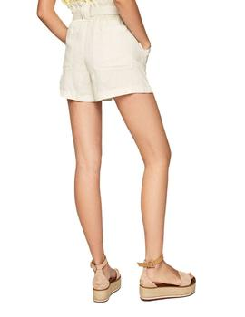 Shorts Pepe Jeans  De Lino Leah Beige Para Mujer