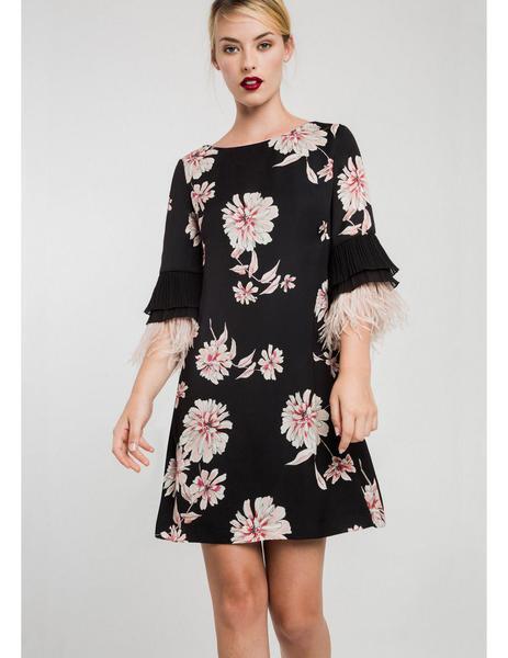 5a373fc8b Vestido Negro De Fiesta Estampado de Alba Conde para mujer