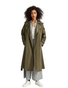Trench Ecoalf Mos Oversize Verde Para Mujer