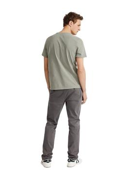 Camiseta Ecoalf New Natal Label Patch Khaki Para Hombre