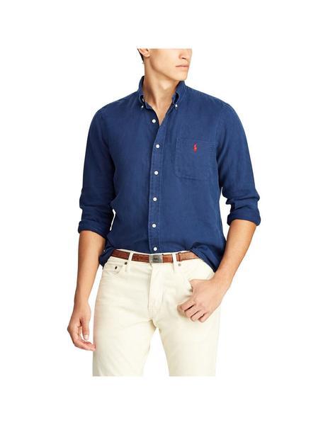 fa4e0b72 Camisa Polo Ralph Lauren De Lino Azul Para Hombre
