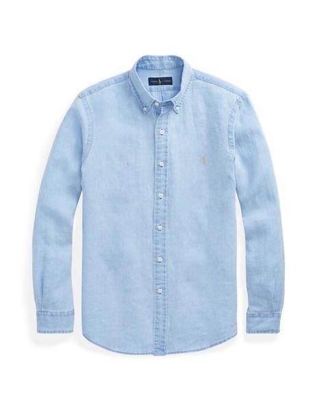Camisa Harmont & Blaine Lino Azul 8 Tejidos