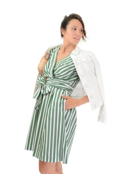 a9593417d110 Vestido Emme Marella Lazada Verde y Blanco Mujer