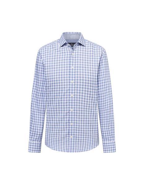 Camisa Hackett Cuadros Blanca y Azul Para Hombre