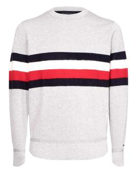 Jersey Tommy Hilfiger Gris Rayas Para Hombre